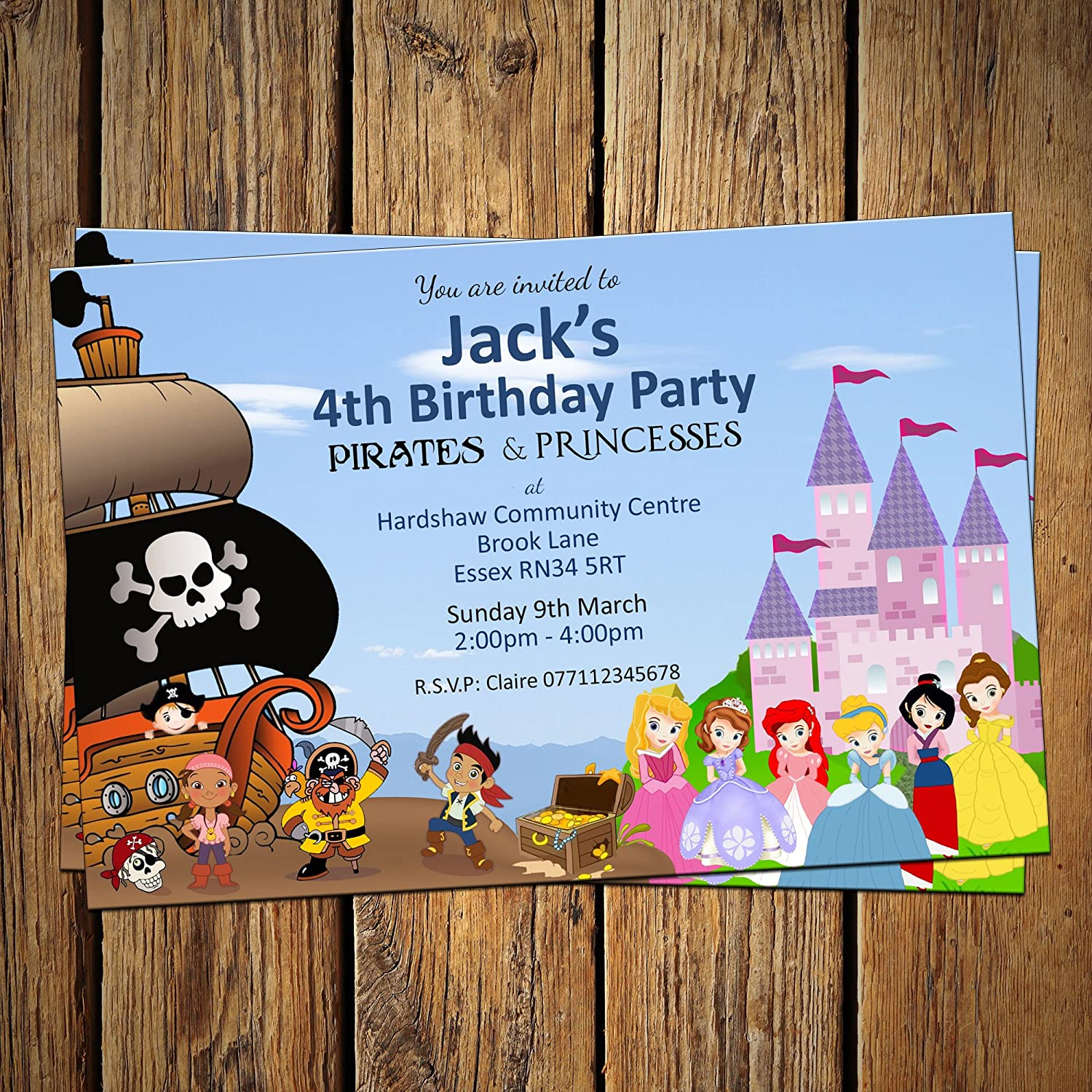 Pirate & Princess Birthday Invitations & Envelopes (Pack of 16 ...