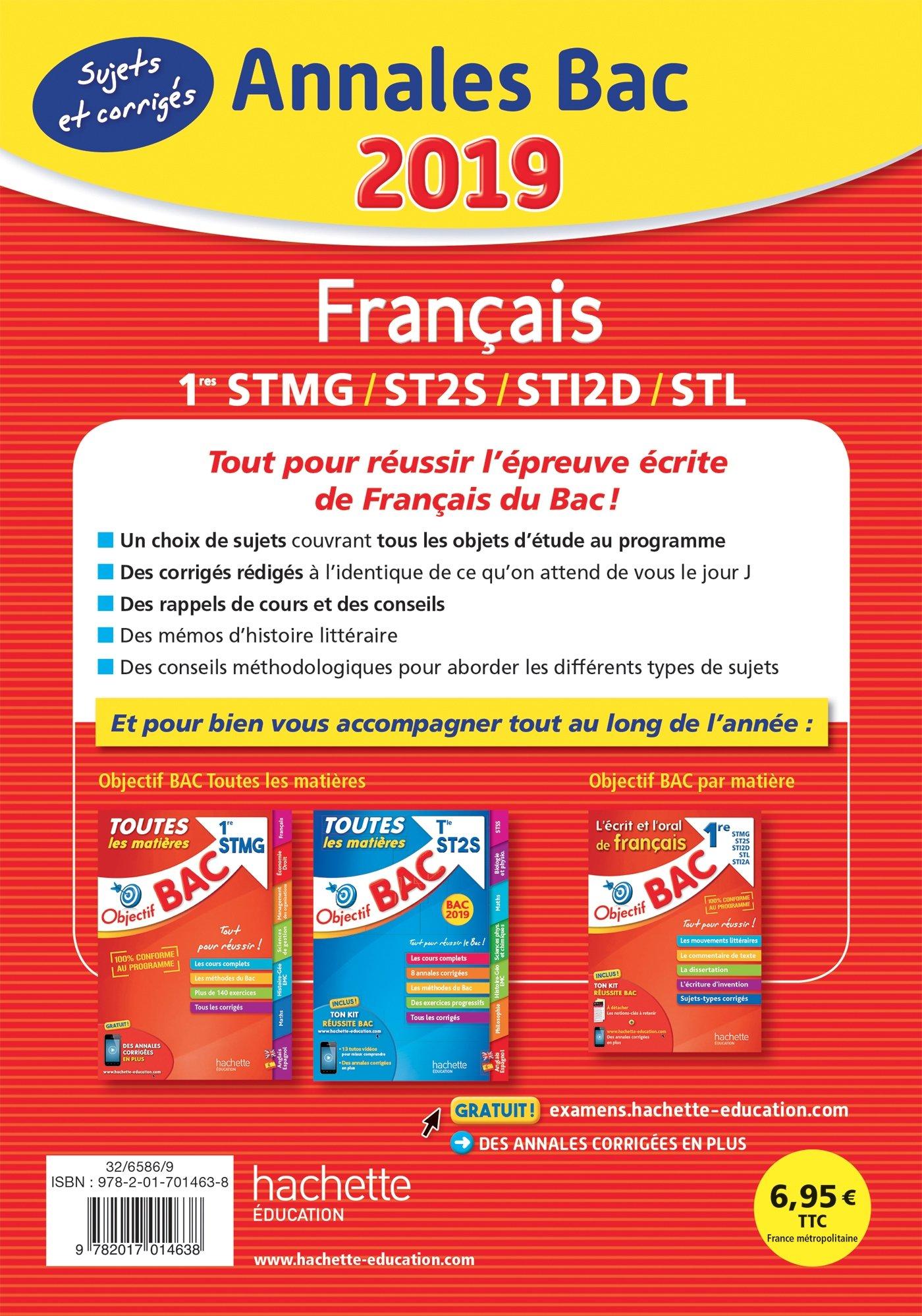 Annales BAC Francais 1res STMG/ST2S/STI2D/STL: 9782017014638: Amazon.com: Books
