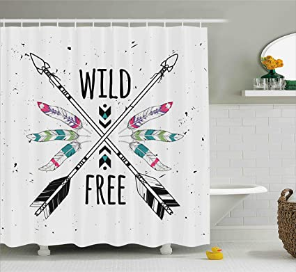 Ambesonne Tribal Shower Curtain Crossed Ethnic Arrows With Wild And Free Motivation Quote Primitive Illustration