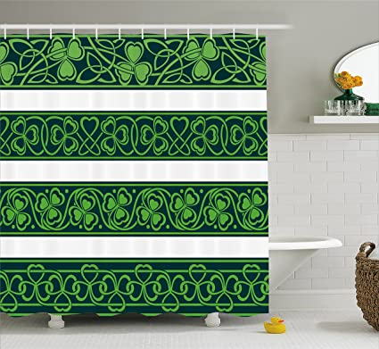 Amazon.com: Irish Shower Curtain by Ambesonne, Shamrock Borders ...