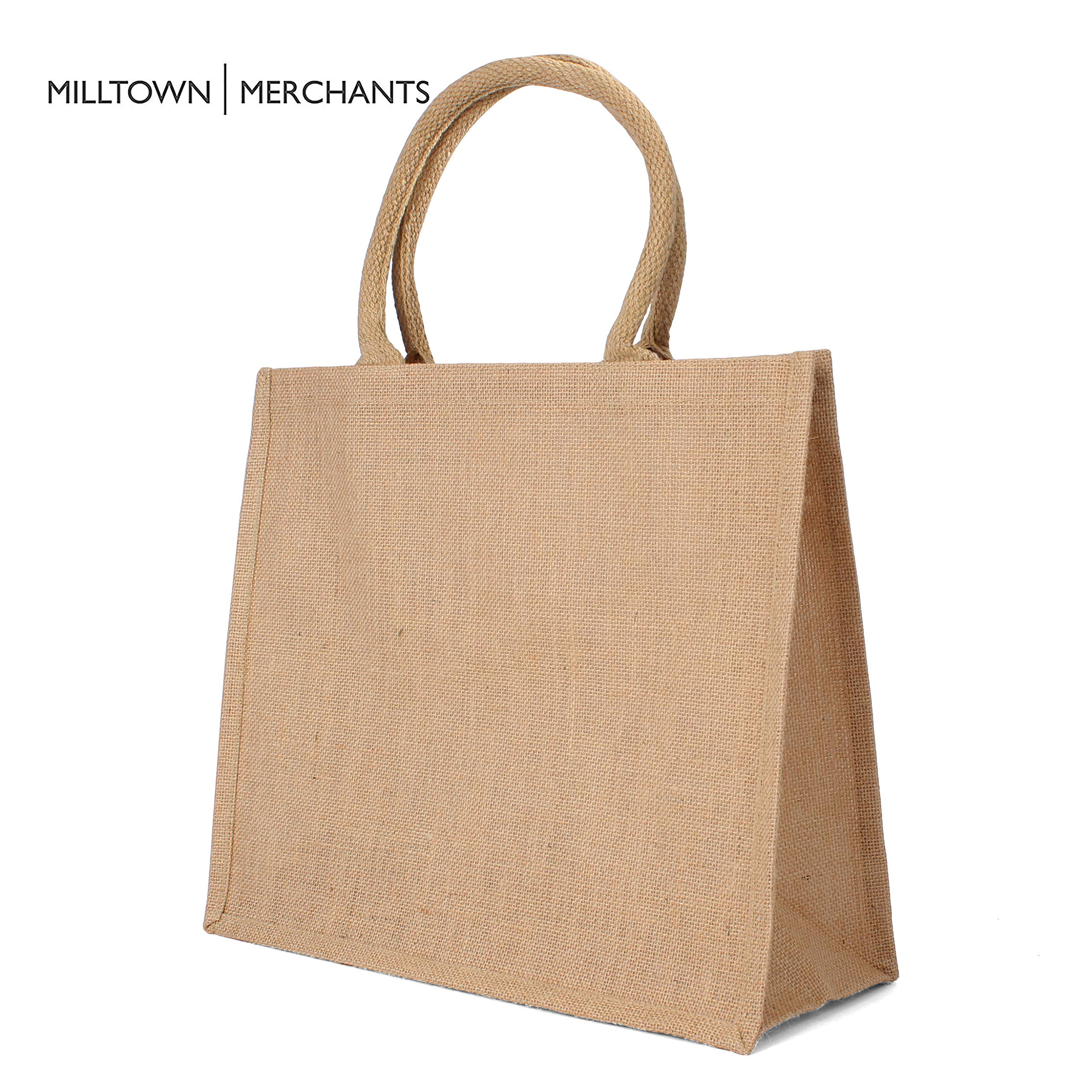 Size Large Customizable Reusable Natural Jute Burlap Tote Bag Laminated Interior wFull Gusset