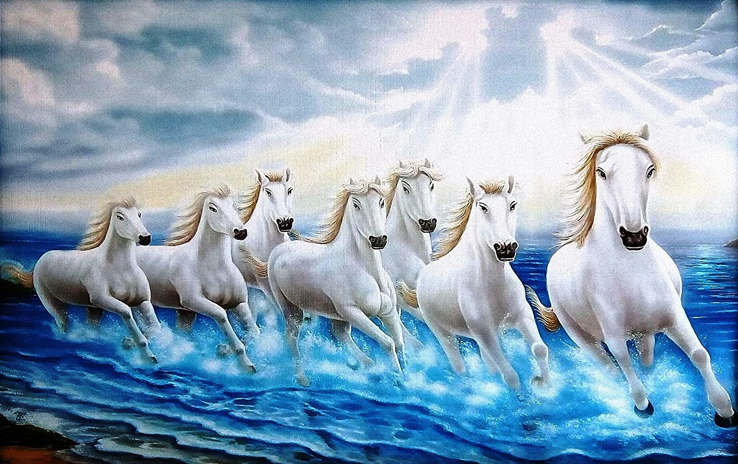 Shine India White Seven Horses Running On Water Painting With