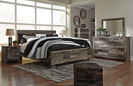 Derek Contemporary Multi Gray Color Wood Bedroom Set: King Panel Bed,  Dresser, Mirror