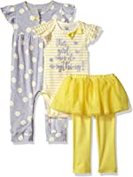 Gerber Baby Girls 3 Piece Coverall Bodysuit and Tutu Legging Set