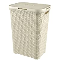 Curver Style 60 L Plastic Laundry Hamper, Vintage White