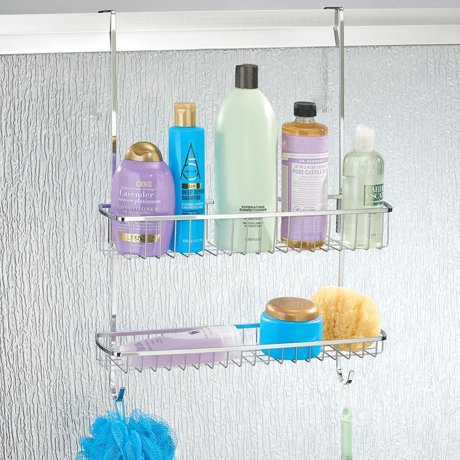 Amazon.com: mDesign Wide Over Shower Door Bathroom Tub & Shower Caddy, Hanging Storage Organizer Center - Built-in Hooks, Baskets on 2 Levels for Bathroom ...