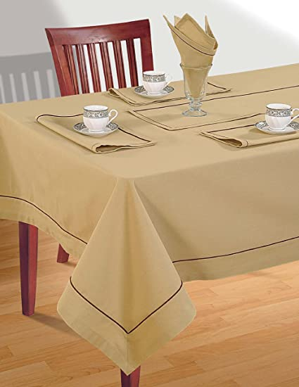 Beige Table Linen Set for 4 Seat Table Includes Square Tablecloth 4 Napkins \u0026 & Amazon.com: Beige Table Linen Set for 4 Seat Table: Includes Square ...