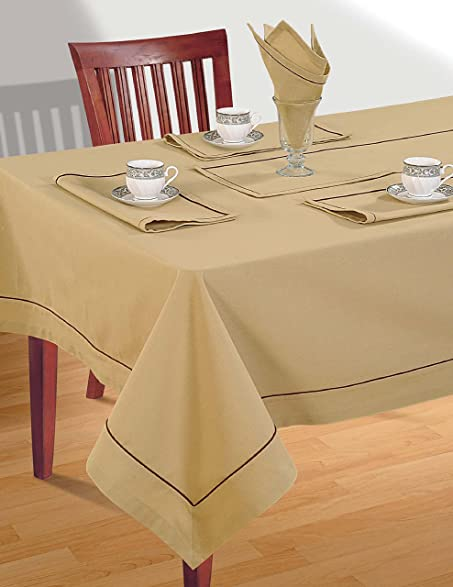 ShalinIndia OATMEAL BEIGE Square Tablecloth Spring Decorations For Home  Size  60 X 60 Inches