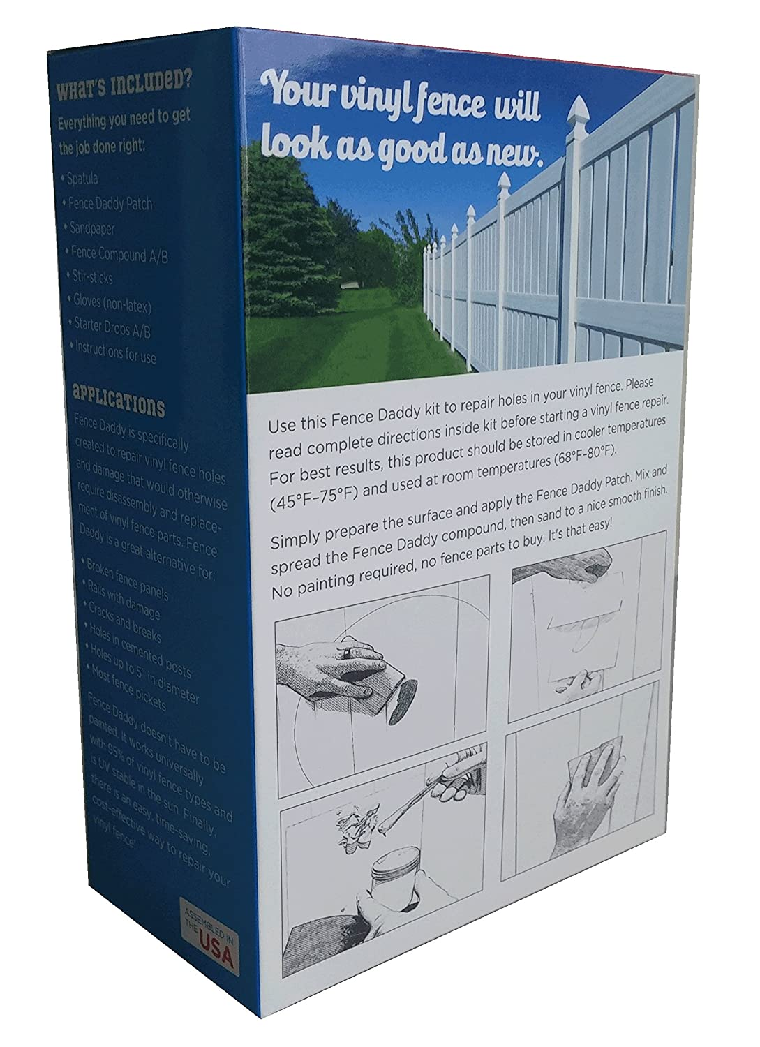 amazoncom vinyl fence repair kit alternative to replacement vinyl fence panels posts pickets sections rails and parts white patio lawn u0026 garden
