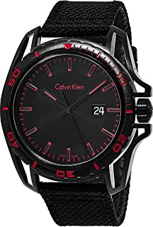Calvin Klein Earth Luxury Mens All Black Watch Leather Band - Black Stainless Steel