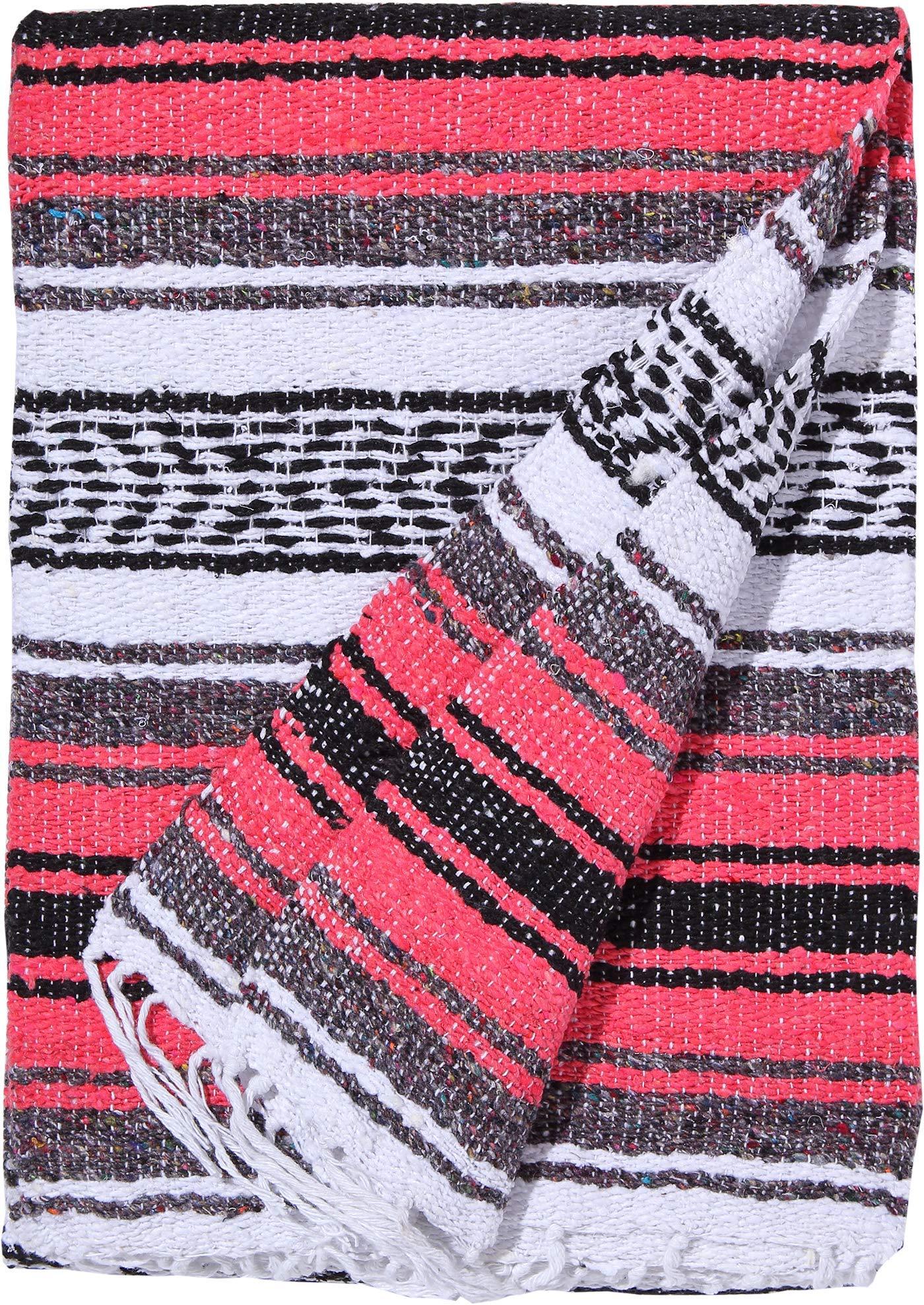El Paso Designs Genuine Mexican Falsa Blanket - Yoga Studio Blanket, Colorful, Soft Woven Serape Imported from Mexico (Bright Coral) by El Paso Designs (Image #2)