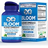Bloom Burp-Less Algae Vegan Omega 3 Supplement with DHA and EPA for Heart, Brain, Joint and Immune System Support - 60 Liquid Capsules