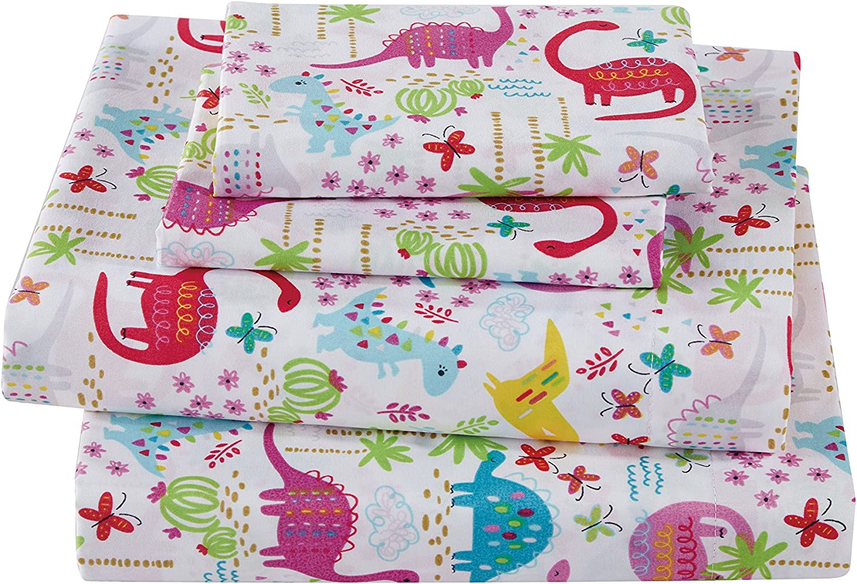 Fancy Collection girls 3pc Crib Sheet Set Dinosaur Pink Purple Turquoise Lime Green # Dinosaur Pink