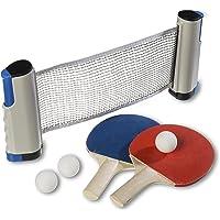 Premium Tischtennisset inklusive ausziehbares Netz - 2 Tischtennisschläger, 3 Tischtennisbälle + praktische Tragetasche