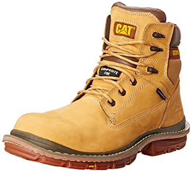 Caterpillar Mens Fabricate 6 Inch Waterproof Comp Toe Work Boot Honey Reset