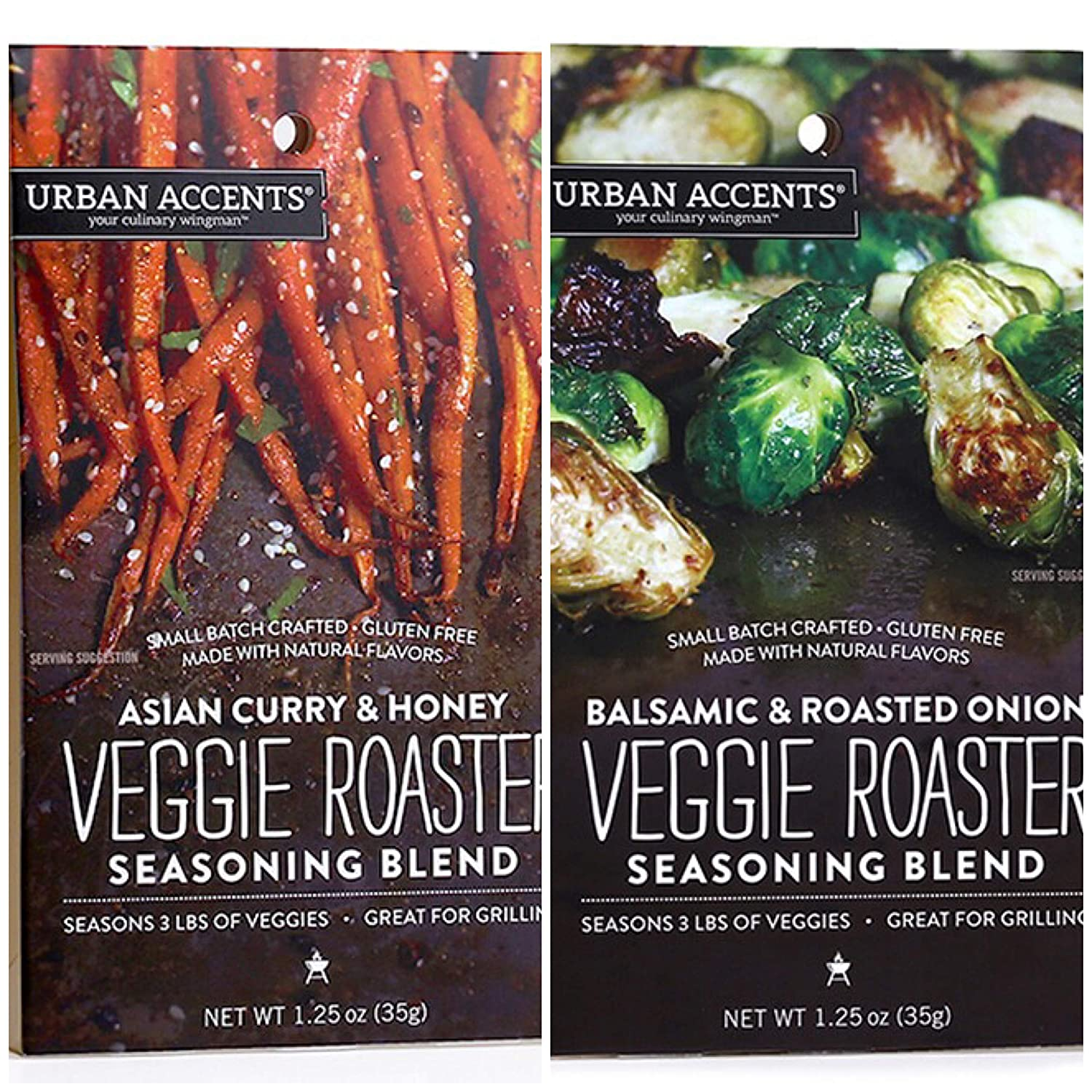 Urban Accents Veggie Roasters - 2 Flavors - Asian Curry & Honey Veggie Roaster AND Balsamic & Roasted Onion Veggie Roaster - GLUTEN-FREE