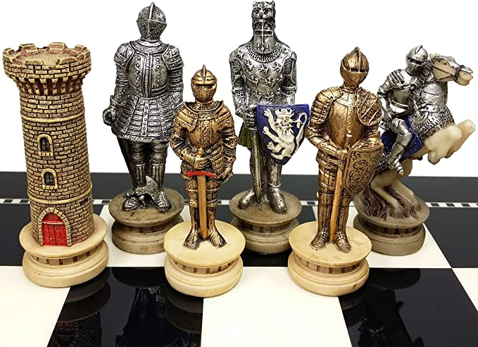 Medieval Times Crusades Warrior Red /& Blue Chess Set Hand Painted w// 17 Gloss Storage Board HPL