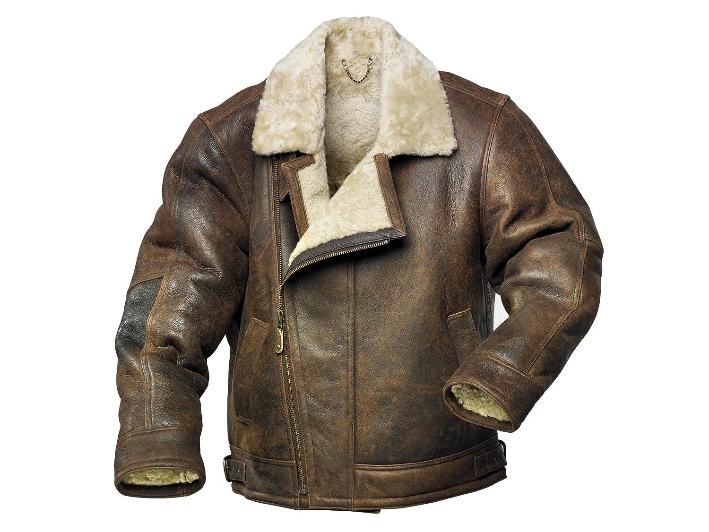 Men's Sheepskin Aviator Style Flying Jacket: Amazon.co.uk: Clothing