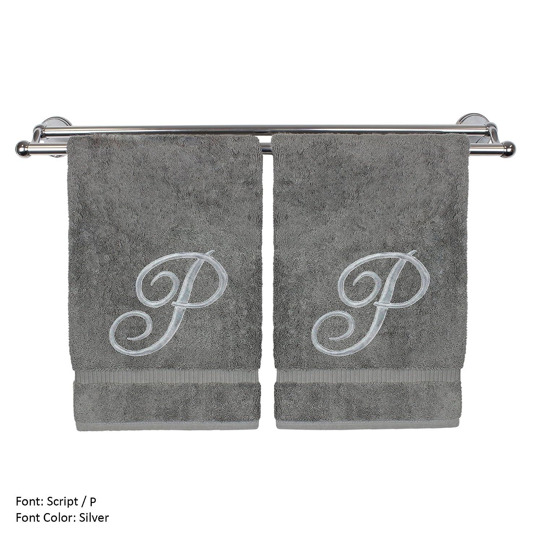Monogram 専用ハンドタオル ゲストタオル ウェディング婚約記念ギフト 2 Hand Towel-Silver Script Initial P グレー 85-716-864-111 B07682KNRD 2 Hand Towel-Silver Script Initial P グレー グレー 2 Hand Towel-Silver Script Initial P