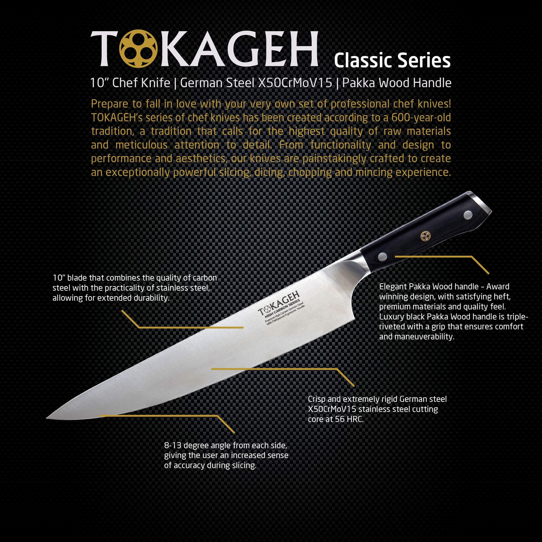 TOKAGEH Chef Knife 8 inch - German High Carbon Steel Pakka Wood Handle by TOKAGEH (Image #3)