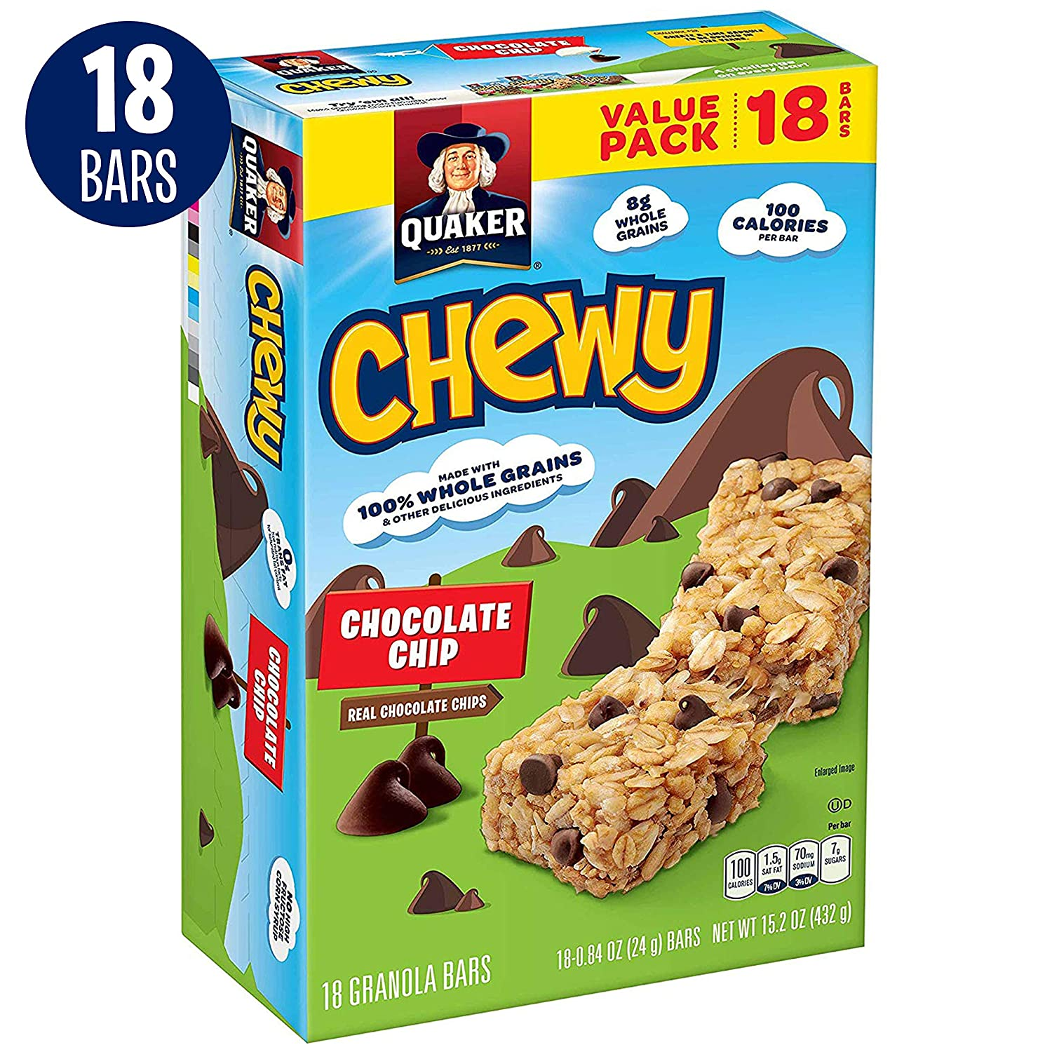 Quaker Chewy Granola Bars, Chocolate Chip, 18 Bars