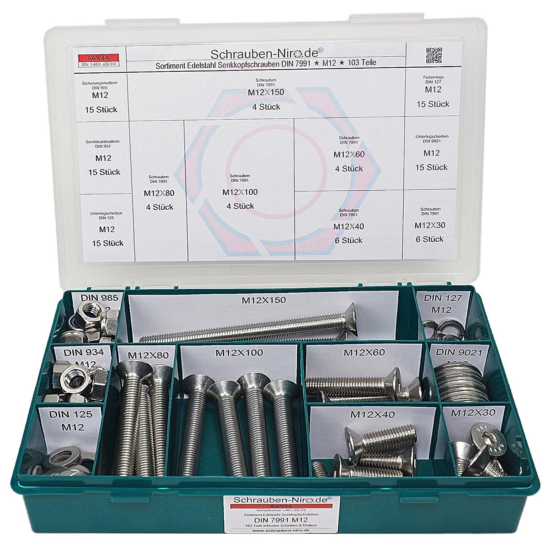 Sortiment M5 + M6 DIN 7991 (ISO 10642) Edelstahl A2 (V2A) Senkschrauben (Innensechskant) - Set bestehend aus Schrauben, Unterlegscheiben (DIN 125, 127, 9021) und Muttern (DIN 934, 985) - 670 Teile Schrauben-Niro.de