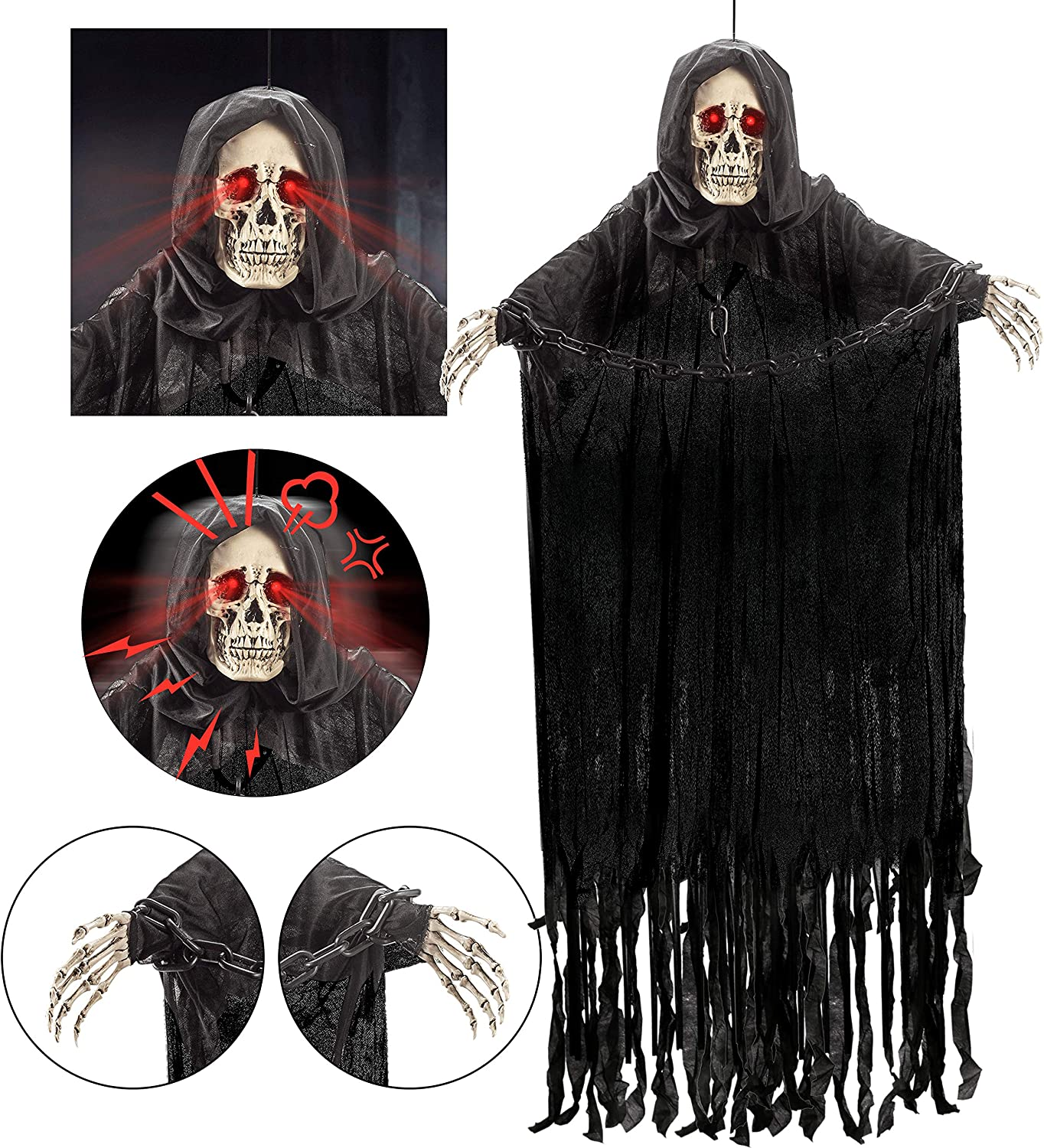 "60"" Animated Hanging Grim Reaper with Chain and creepy sound, Halloween Skeleton Ghost Decorations for Haunted House Prop Decor, Outdoor/Indoor, Lawn Decorations"