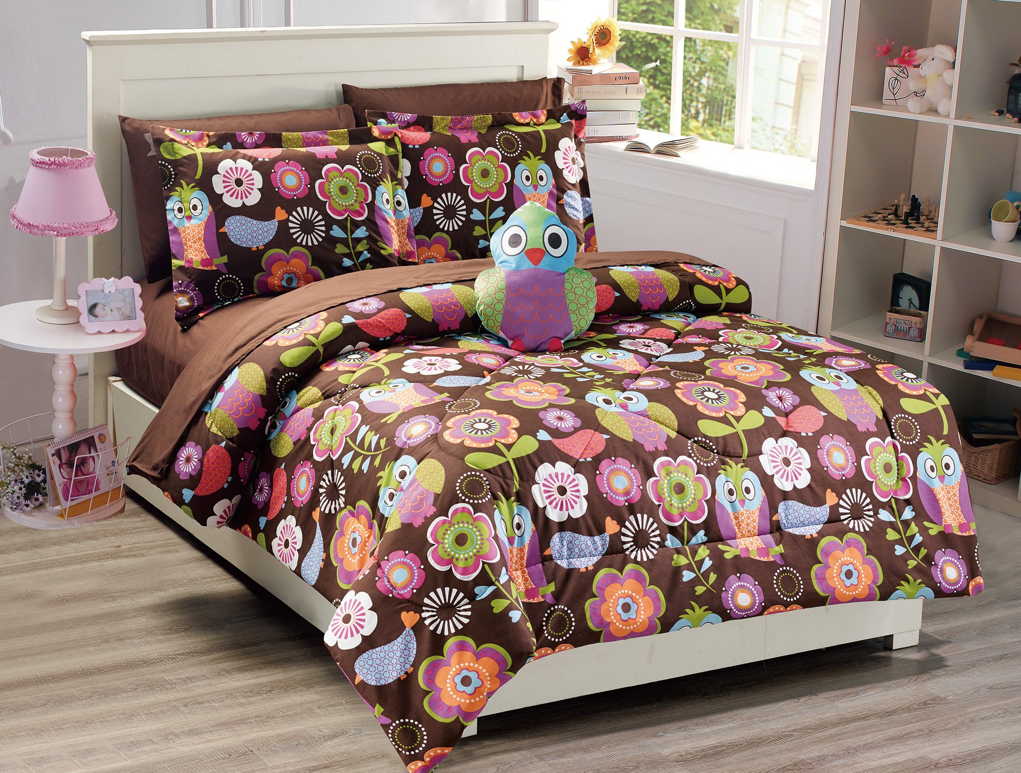 Mk Collection Owl Brown Purple Pink Green White 8pc Full Size Comforter And Sheet Set With Furry Buddy Included New (Full, Comforter Set)