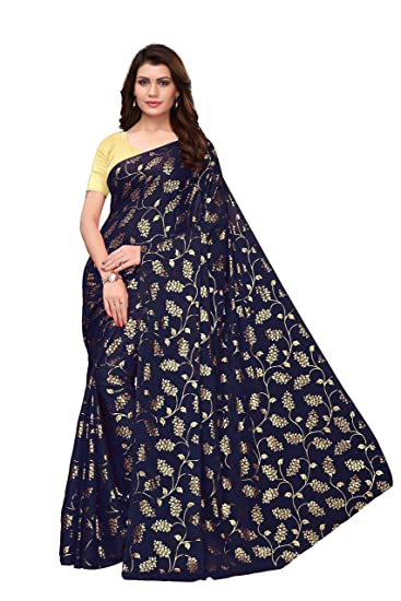 93169a6753ffb women s foil print rangoli lehariya style saree with blouse piece Blue-FOIL  FLORAL NAVY  Amazon.in  Clothing   Accessories
