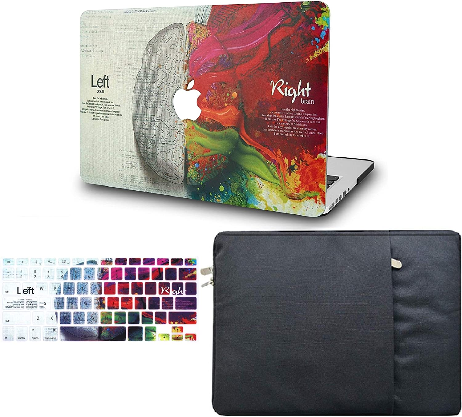 """KECC Laptop Case for MacBook Air 13"""" Retina (2020/2019/2018, Touch ID) w/Keyboard Cover + Sleeve Plastic Hard Shell Case A1932 3 in 1 Bundle (Brain)"""