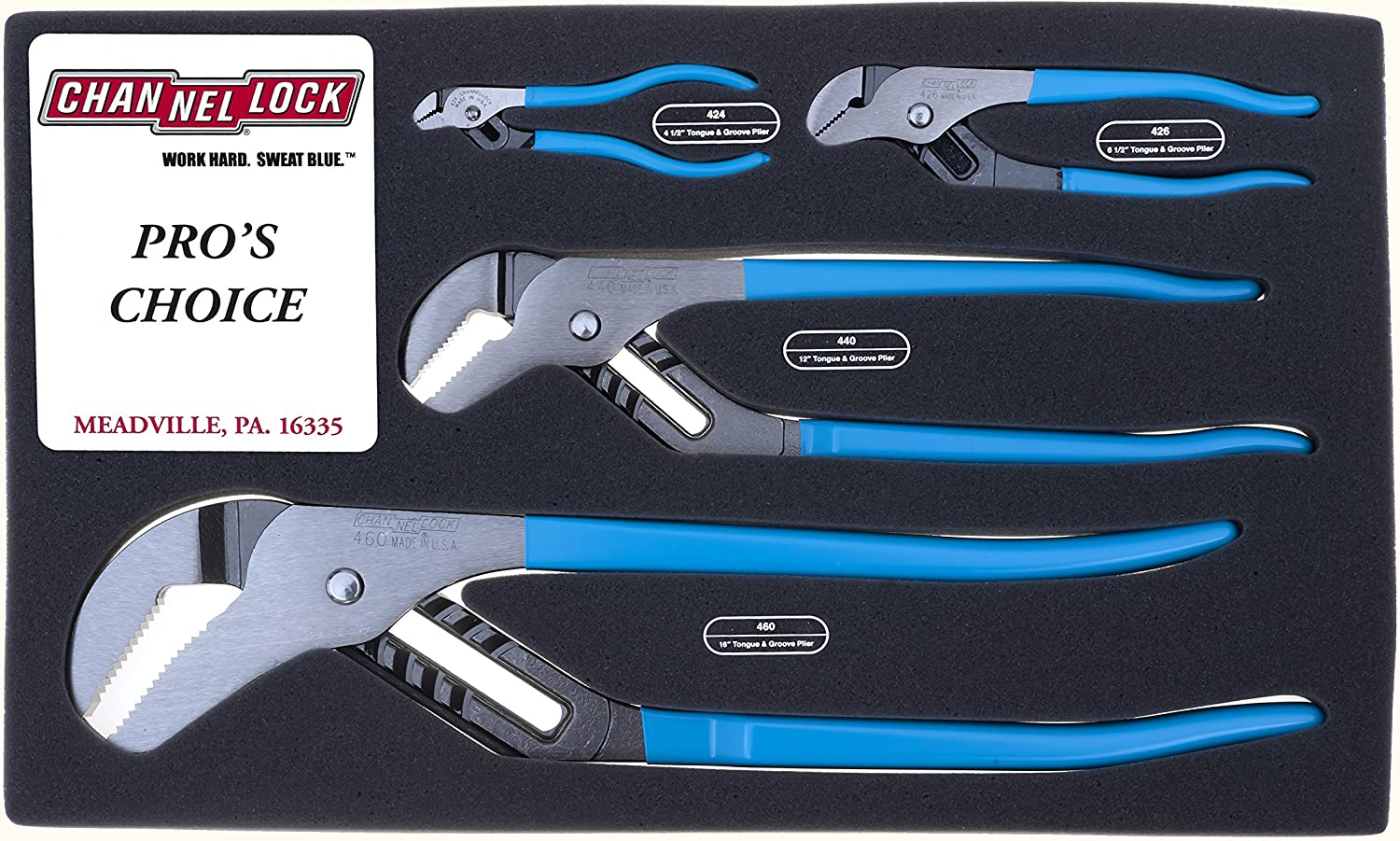 Channellock PC-1 Pit Crew/'s Tongue and Groove Plier Set: 424 440 426 460