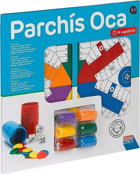 Falomir Tablero de Parchís 6 Jugadores y Oca con Accesorios 40 x 40 cm, Juego de Mesa, Clásicos, (27916): Amazon.es: Juguetes y juegos