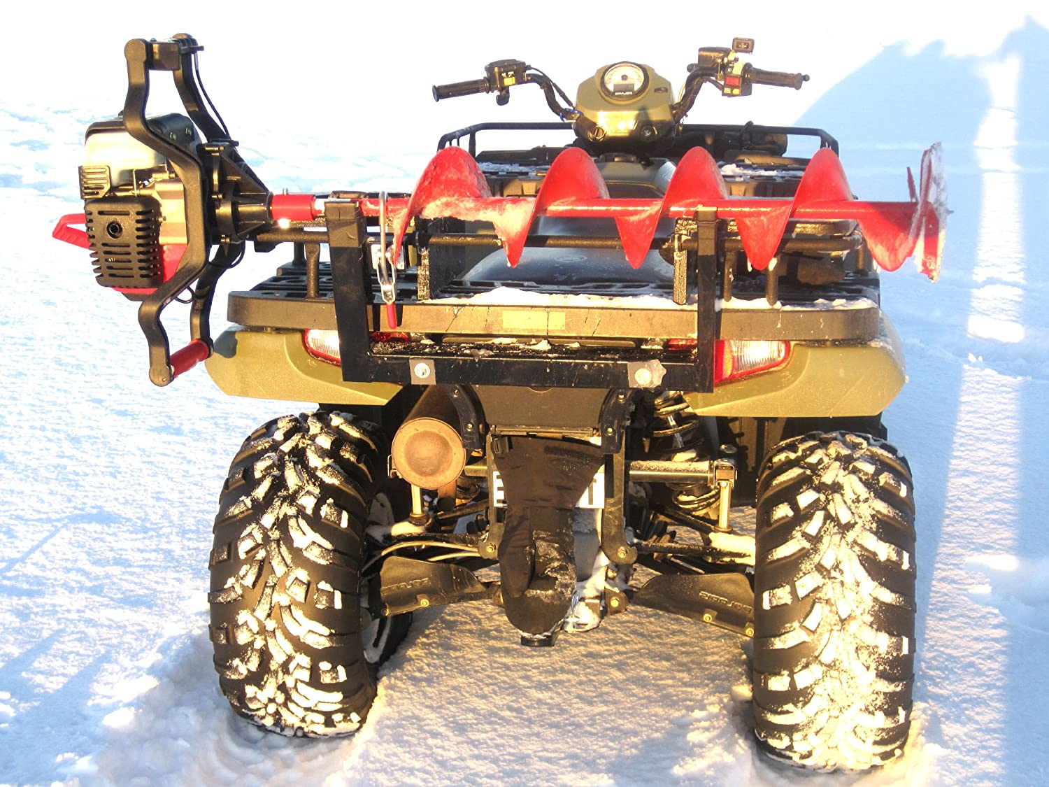 Ice auger rack for utv cosmecol for Atv ice fishing accessories