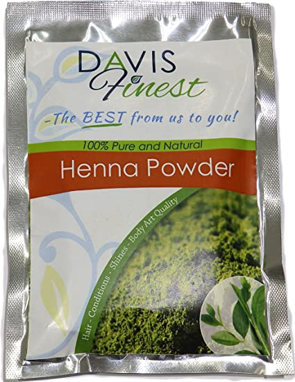 Davis Finest Henna en polvo, pura, natural, hojas, tinte para el pelo, sin PPD ni amoniaco, acondicionador, brillo para un cabello espectacular y un ...