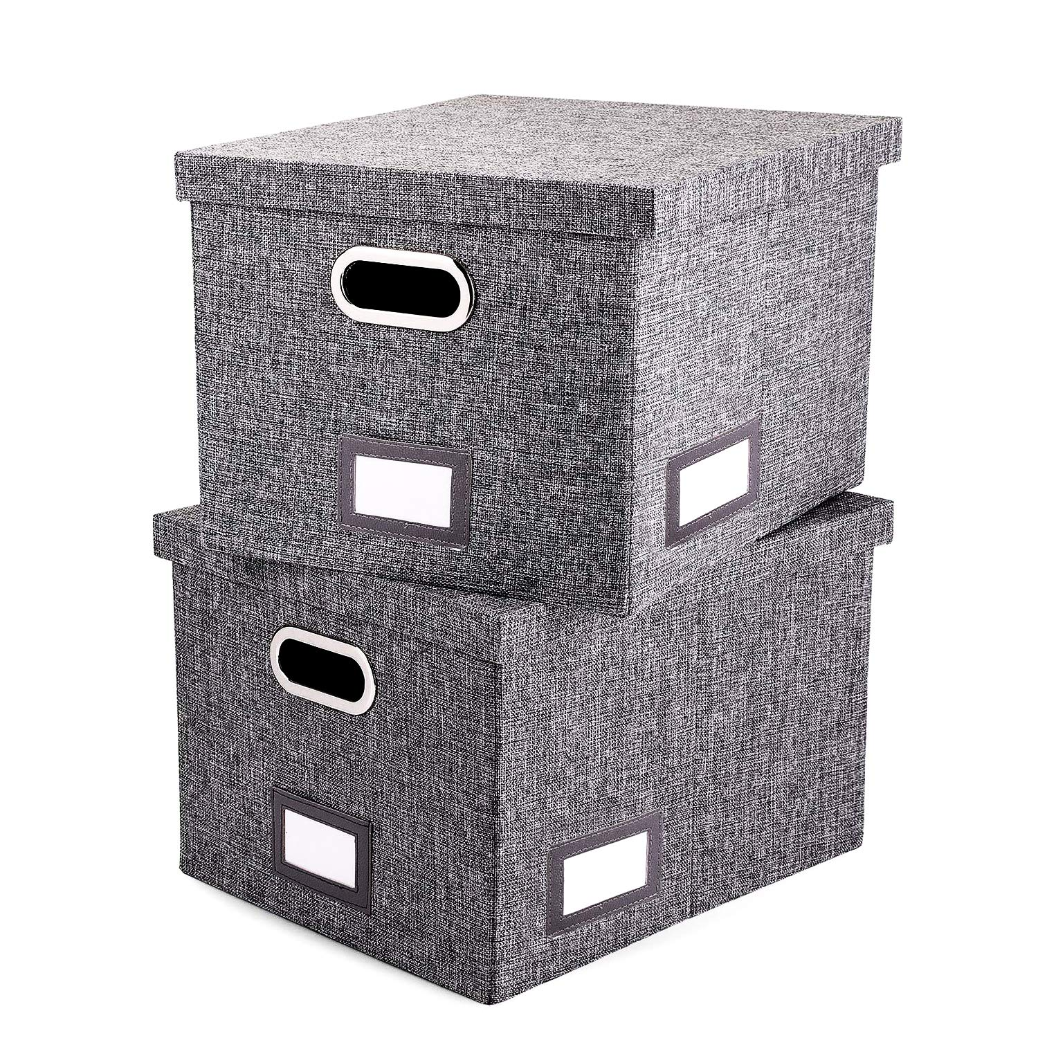 File Organizer Box Set of 2 - Collapsible Linen Filing Boxes for Easy File Folder Storage- Handles and Removable Lid   Organize Your Documents and Hanging Files in Style by AKSDESY