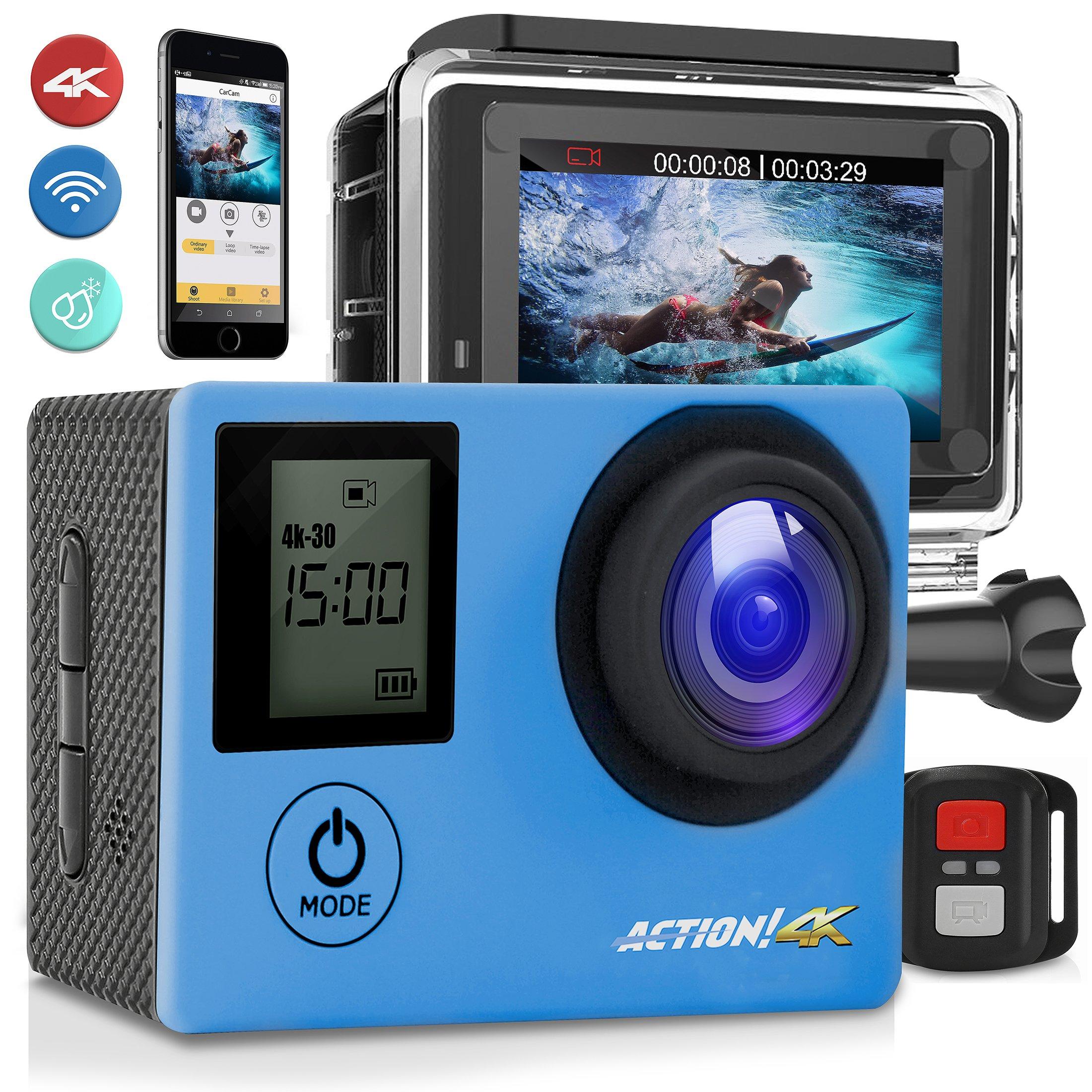SereneLife 4K Ultra HD WiFi Pro Sport Action Camera - 1080p UHD Sports Mini Digital Video Camcorder Kit w/ 2'' Monitor Screen - Waterproof Case, Strap, Helmet Mount Accessories Included - SL4KDSBL