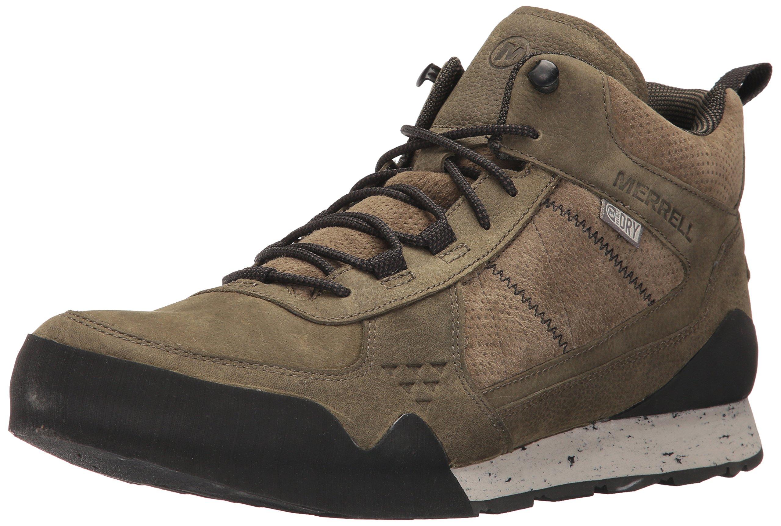 Merrell Men's Burnt Rock Mid Waterproof Fashion Sneaker, Dusty Olive, 10 M US