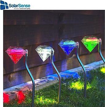 SolarSense Juego de 4 luces solares de diamante que cambian de color, luces LED de jardín, faroles de jardín, energía solar luces de jardín, patio de camino al aire libre: Amazon.es: Iluminación