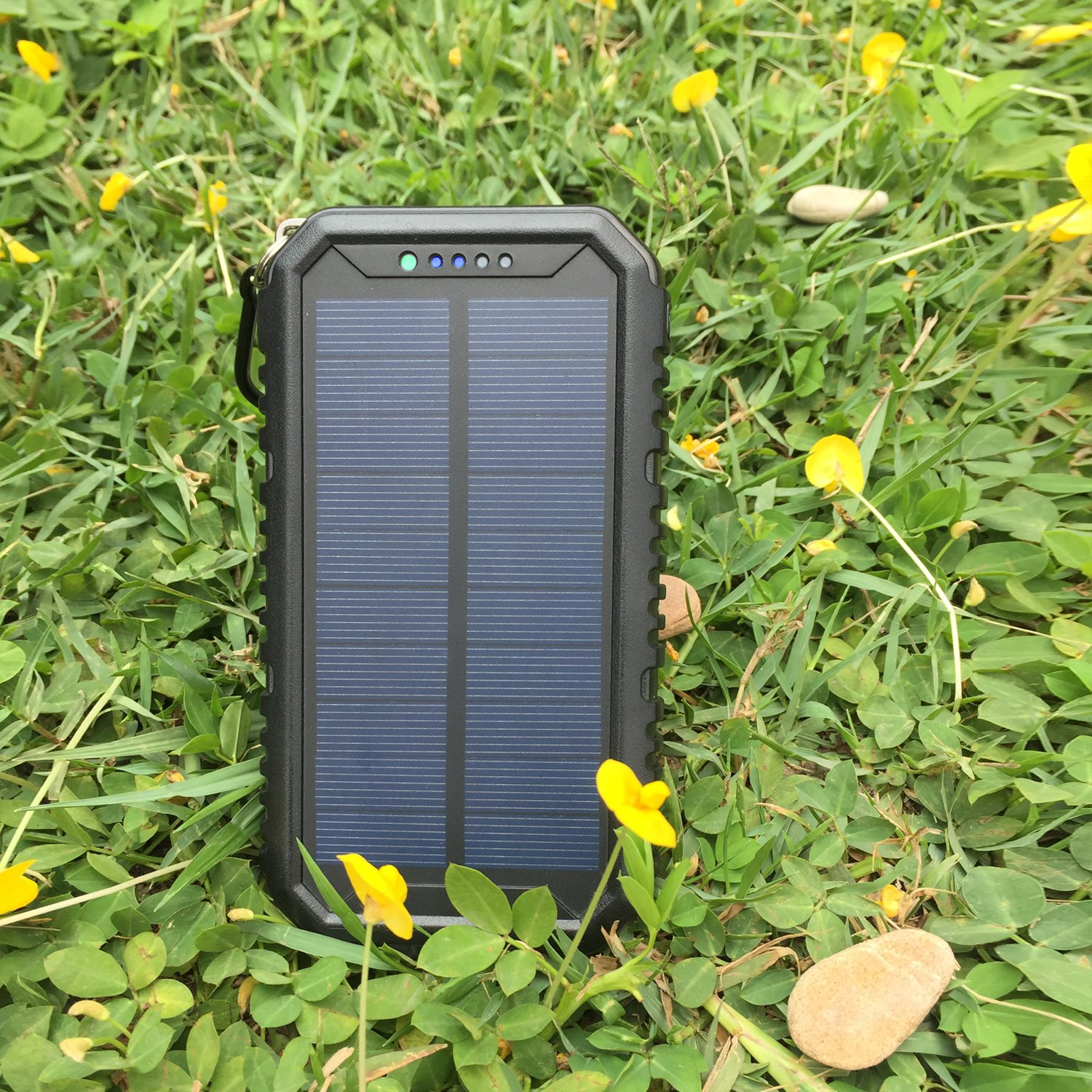 Solar Charger 12000mAh WBPINE Portable Solar Power Bank Shockproof/Dustproof/Waterproof Dual USB 2 LED Flashlights Cellphone More by WBPINE (Image #5)