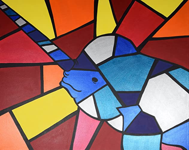 Amazon Com Colorful Narwhal Print Cubism Narwhal Print