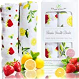 Softest Organic Bamboo Baby Muslin Swaddle Blankets, Strawberry Lemon Collection, Extra Large Unisex Breathable Ultra Soft, 47x47 inches, Perfect Baby Shower Gift