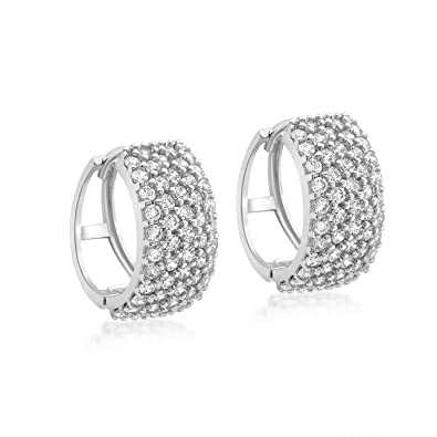 16e1f5d95 Carissima Gold 9 ct White Gold 15 mm Pave Set Cubic Zirconia Huggy Earrings:  Amazon.co.uk: Jewellery