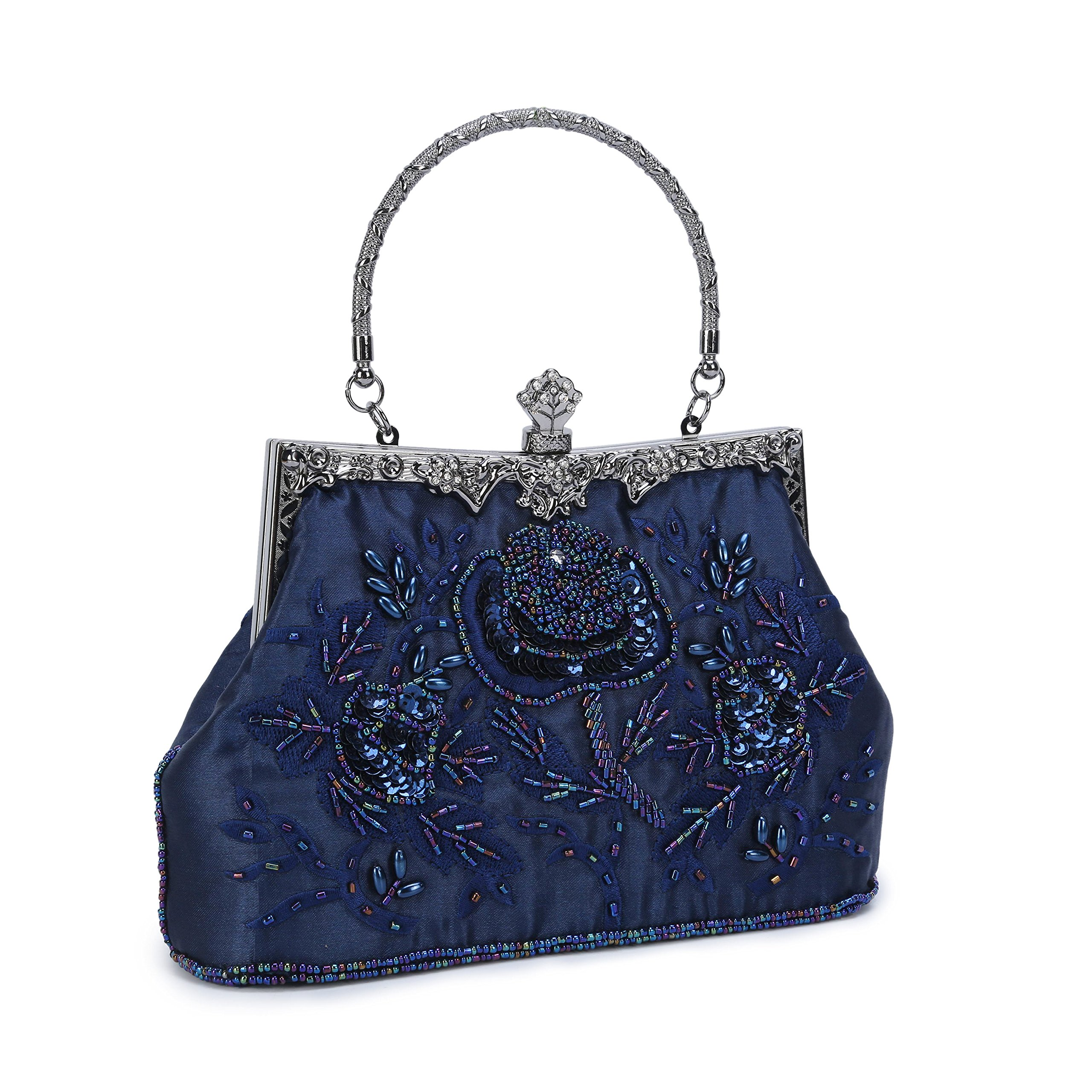 Chichitop Women's Embroidered Beaded Sequin Evening Clutch Large Wedding Party Purse Vintage Bags (Navy Blue)