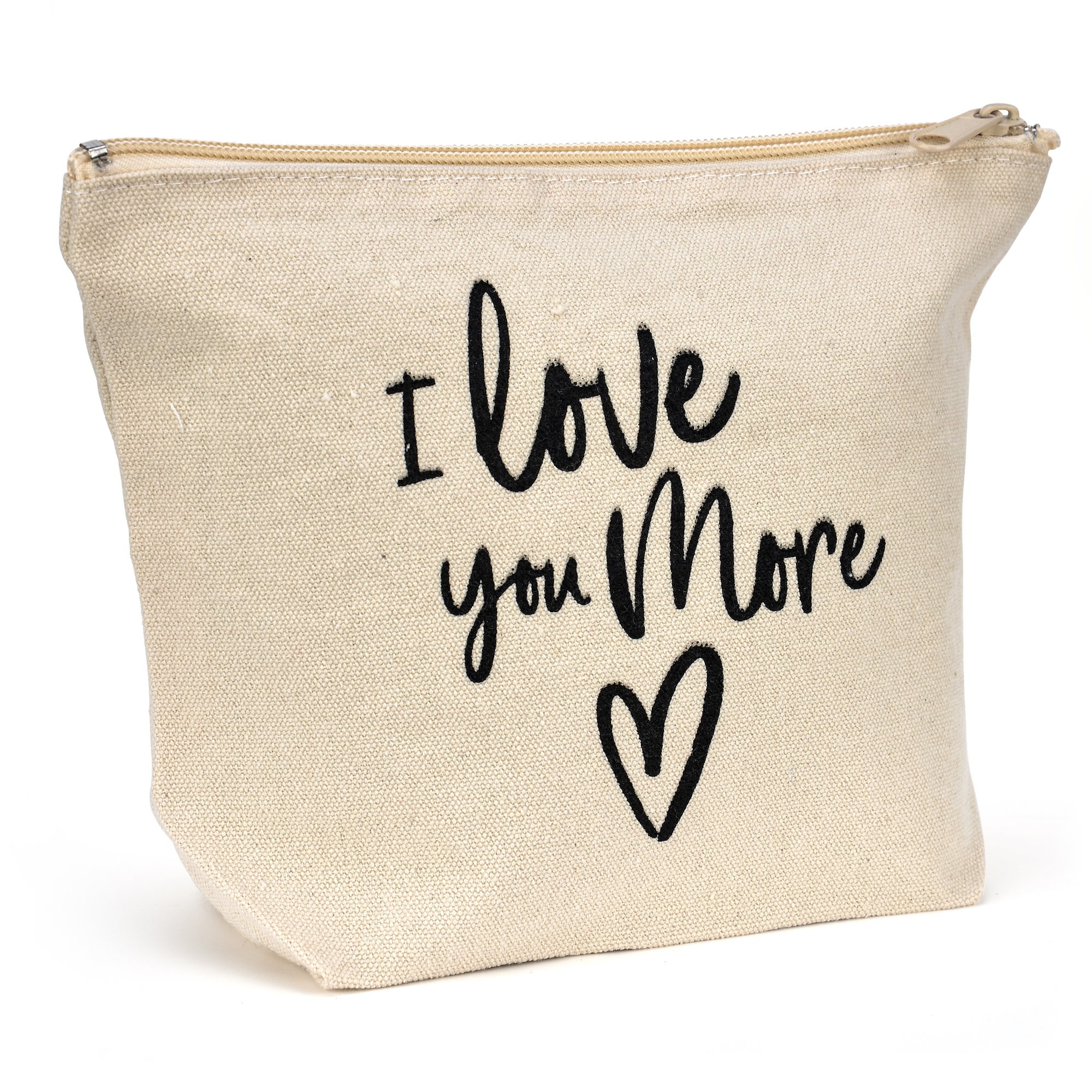 Natural Canvas Makeup Bag - I Love You More - Friendship Gift - Fun Canvas Travel Bag, Small Canvas Bag For Travel Carryon - 9'' x 7'' x 3'' by myTaT (Image #1)