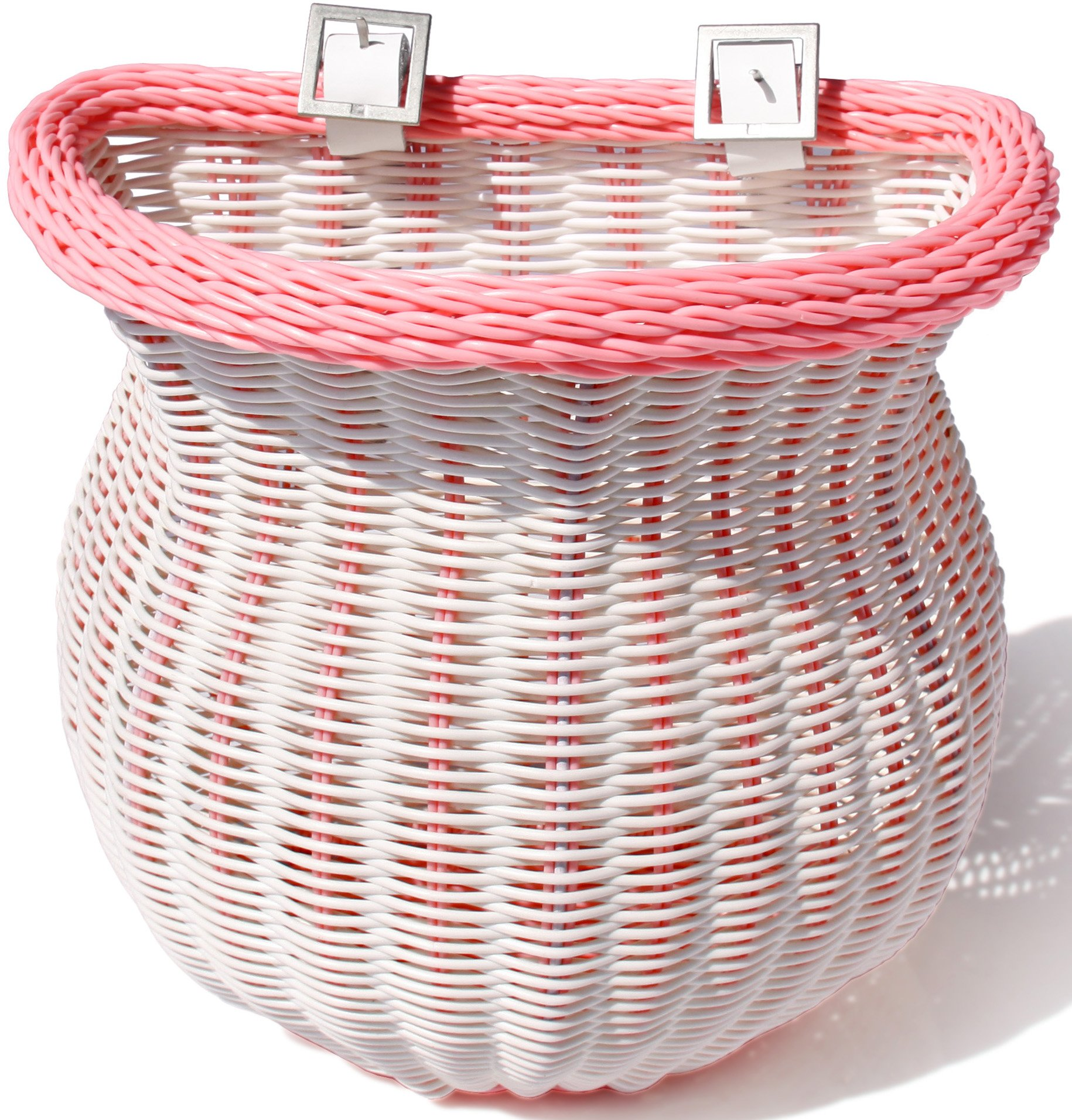Colorbasket 01365 Front Handle Bar Adult Bike Basket, Water Resistant, Leather Straps, White with Pink Trim