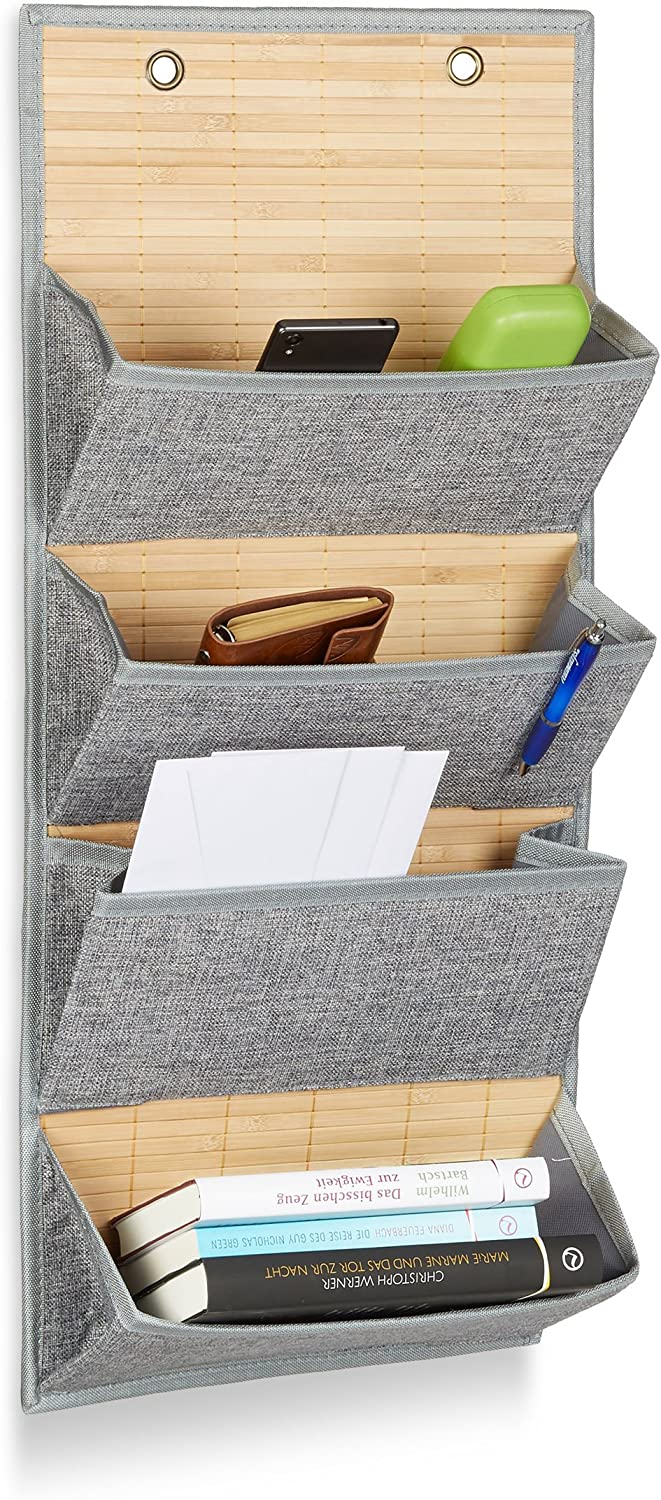 Relaxdays Bamboo Hanging Organiser with 4 Jute Compartments Grey Newspaper Holder for the Office or Hallway 75 x 34 x 12 cm
