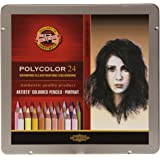 Koh-I-Noor Polycolor Artist's Coloured Pencils - Portrait - Set Of 24 In Tin Box