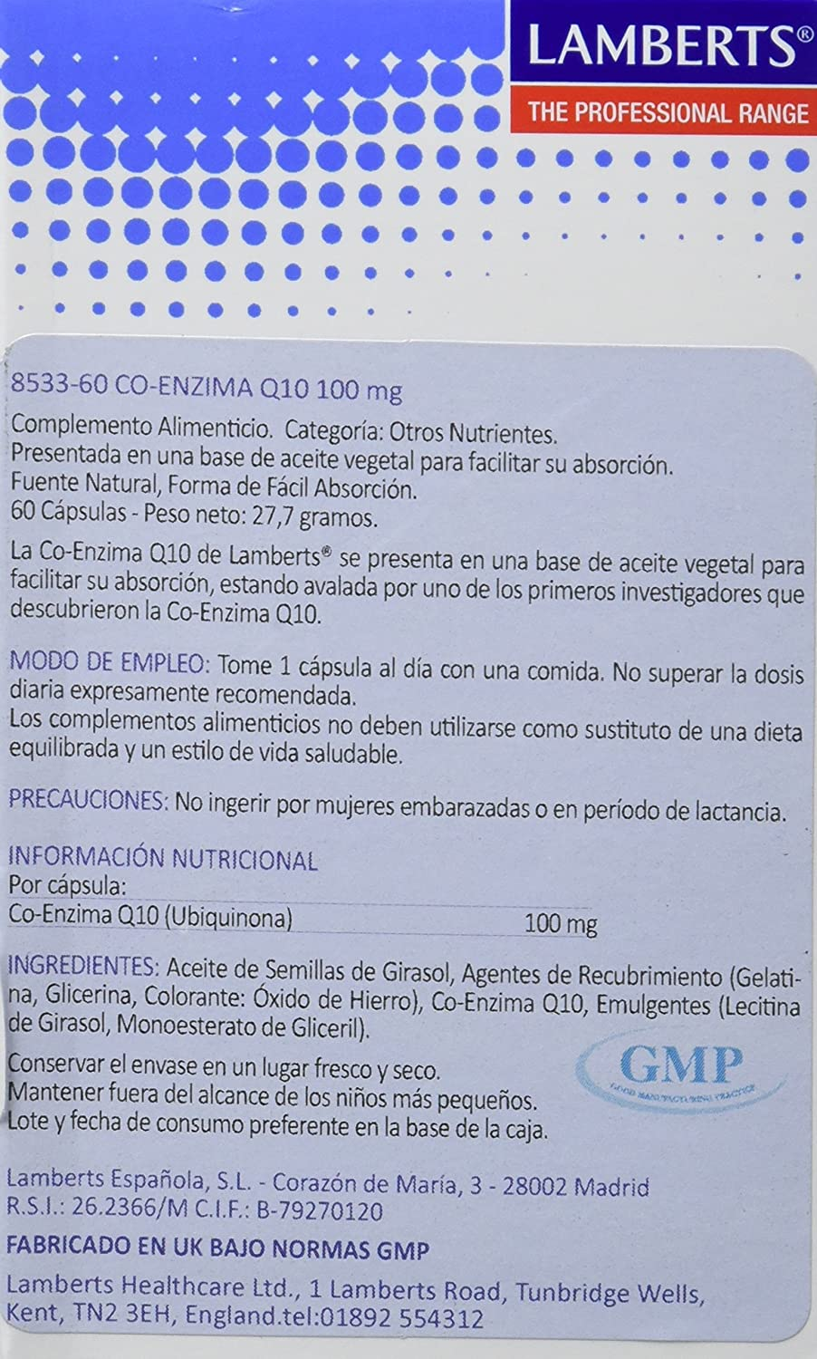 Lamberts Co Enzima Q10 100mg - 60 Tabletas: Amazon.es: Salud ...