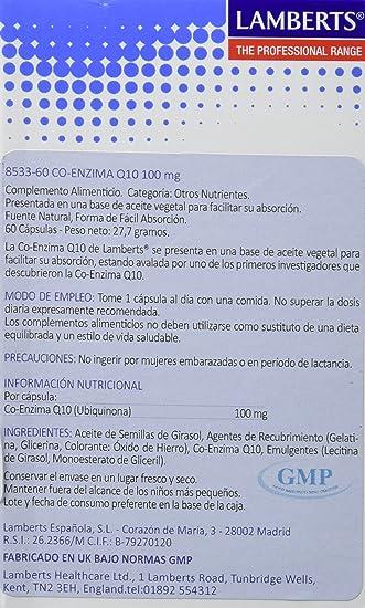 Lamberts Co Enzima Q10 100mg - 60 Tabletas: Amazon.es: Salud ...