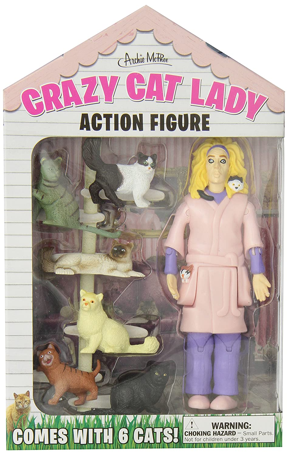 Accoutrements 12470 Crazy Cat Lady Action Figure Set, Multicolor Flat River Group